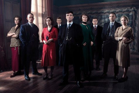 Aimee-Ffion Edwards (Esme Shelby), Joe Cole (John Shelby), Sophie Rundle (Ada Shelby), Harry Kirton (Finn Shelby), Cillian Murphy (Tommy Shelby), Helen McCrory as Polly Gray, Finn Cole (Michael Gray), Paul Anderson (Arthur Shelby) and Kate Phillips (Linda) in Peaky Blinders, series three - Coming May 2016 to BBC TWO Peaky Blinders, series three Photographer: Robert Viglasky © Caryn Mandabach Productions Ltd & Tiger Aspect Productions Ltd 2016