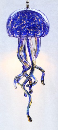 Cobalt Jellyfish Chandelier