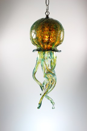 Silver Green/Gold Pendant Jellyfish Chandelier