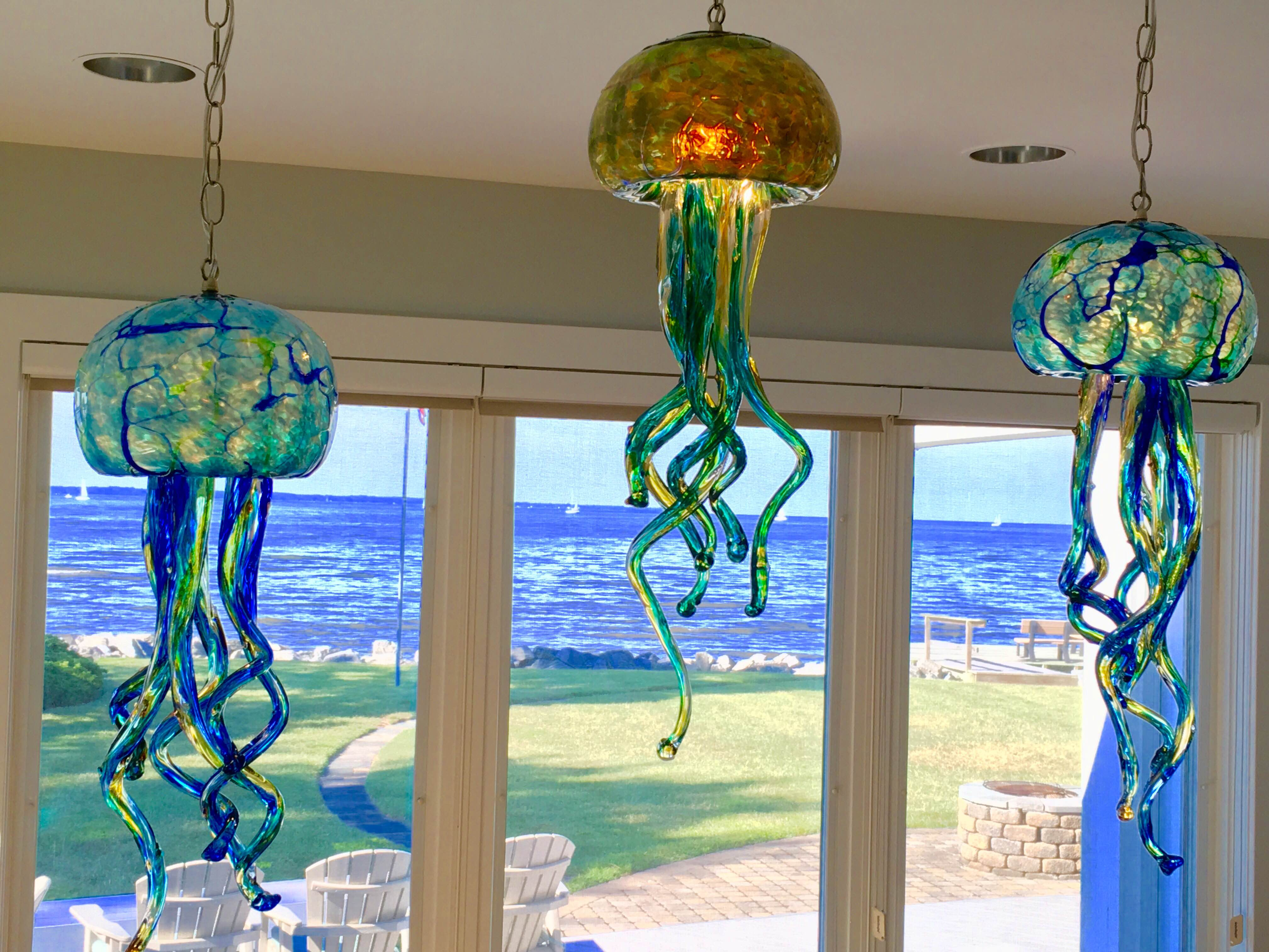 Jelly fish lights opal art glass aqua jelly fish chandelier arubaitofo Image collections