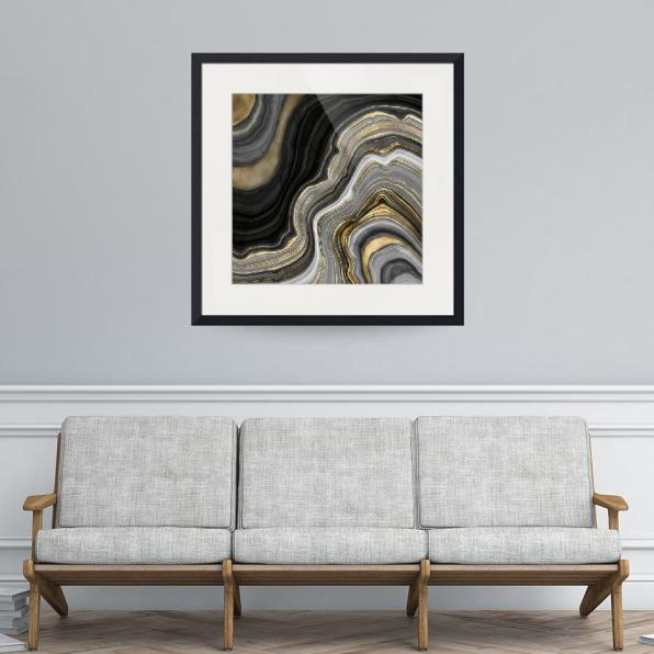 Gold And Black Agate Stone Marble Geode Modern Framed Art Print