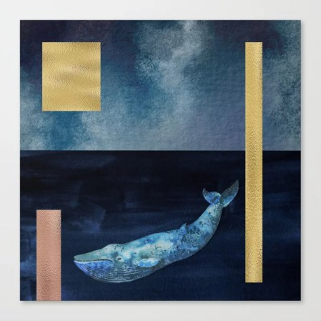 Blue Whale - Gold, Copper And Deep Blue Art Print