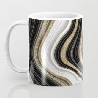 Gold And Black Agate Gemstone Coffee Mug
