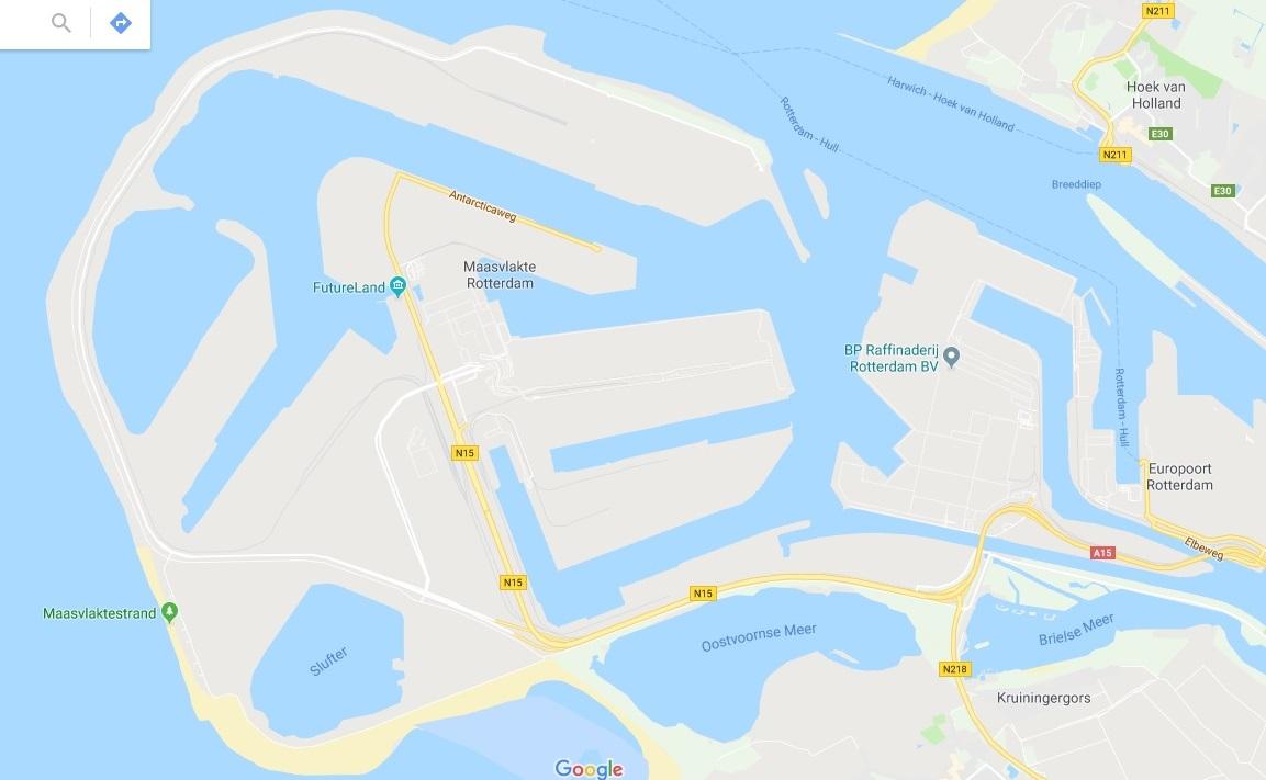 Kaartje van de Maasvlakte met dank aan Google maps