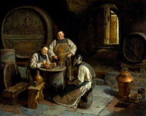 """(Eduard Von Grützner - Moines à la cave) - Illustration du décryptage """"le petit Jésus en culotte de velours"""""""