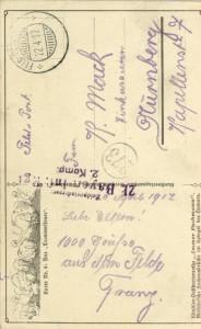 Feldpostkarte Erster Weltkrieg Trommelfeuer