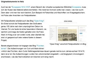 """Screenshot vom Screenshot: So berichtet """"quergewebt"""" über Opas Krieg."""