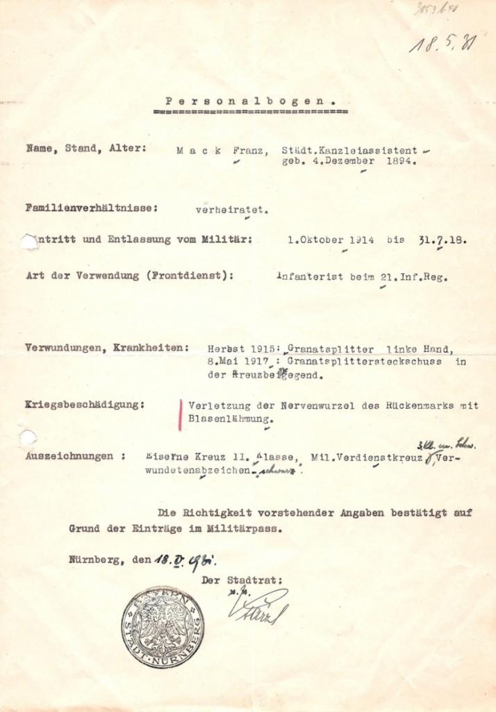 Personalbogen Franz Mack