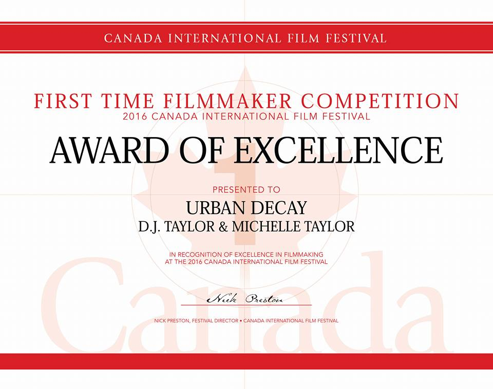 Winners: DJ and Michelle Taylor win award for Urban Decay at Canada Intl. Film Fest 2016
