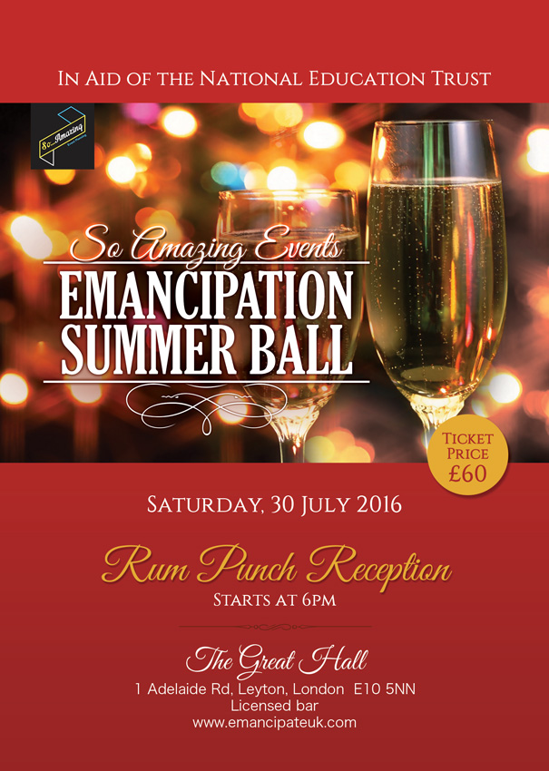 Emancipation Summer Ball, Sat 30th July – Leyton Great Hall