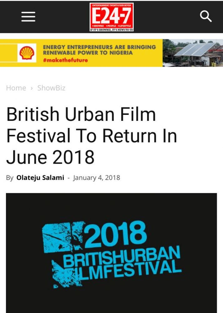 E247 Mag reports British Urban Film Festival 2018 dates