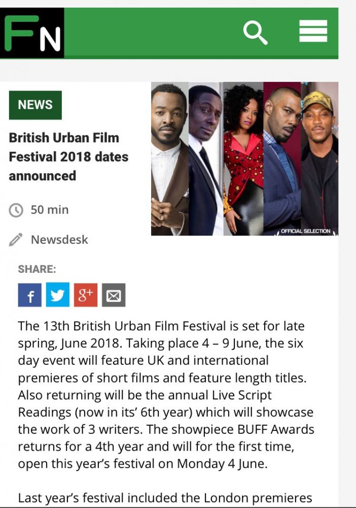 Film News report British Urban Film Festival 2018 Dates