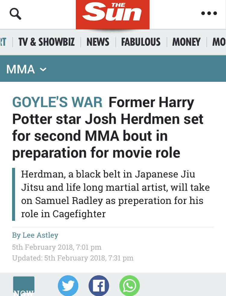 @TheSun features @WoolcubPro @CagefighterMov @TheRocEvents #JoshHerdman #RiseOfChampions