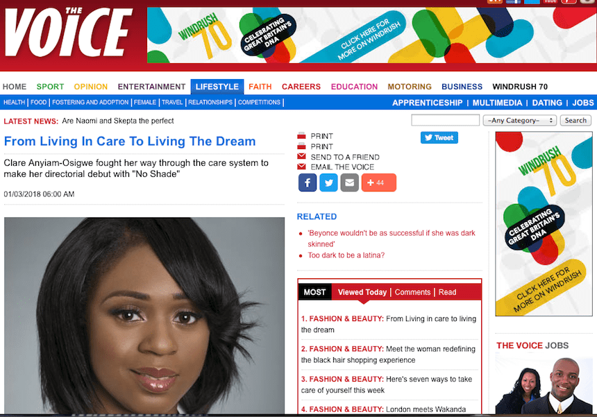 @thevoicenews features @clareanyiamo directorial debut story @noshadefilm