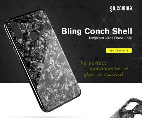 gocomma conch shell tempered glass phone case for xiaomi mi 8