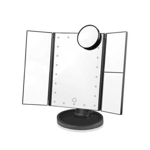 20% off LED Light Touch Screen Makeup Mirror Desktop 3 Folding 1X/2X/3X/10X Magnifying – BLACK Gearbest Coupon Promo Code