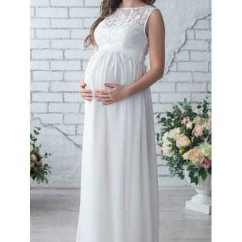 10% off 17 – W19828 – I24.3.33 Lace Stitching Maternity Dress – WHITE 2XL Gearbest Coupon Promo Code