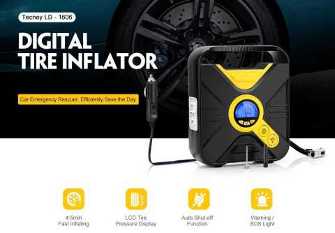 Tecney Portable Digital Car Tire Inflator Pump - Tecney LD - 1606 Portable Digital Car Tire Inflator Pump Gearbest Coupon Promo Code