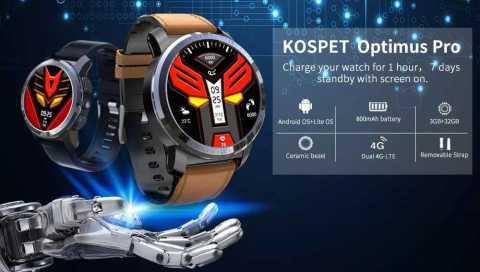 Kospet Optimus Pro 1 - Kospet Optimus Pro Smart Watch Phone Banggood Coupon Promo Code [3+32GB] [USA Warehouse]