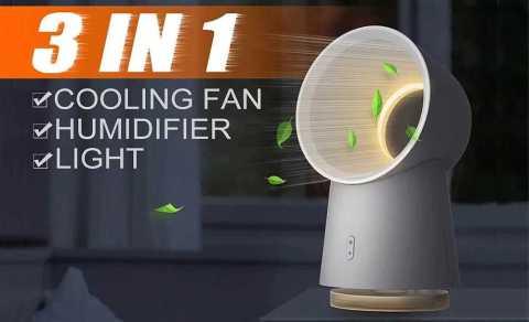 xiaomi 3 in 1 mini bladeless desktop fan humidifier