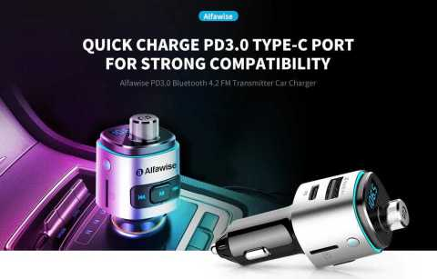 alfawise pd3.0 bluetooth fm transmitter fast car charger