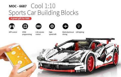 moc – 6687 cool 1:10 sports car building blocks