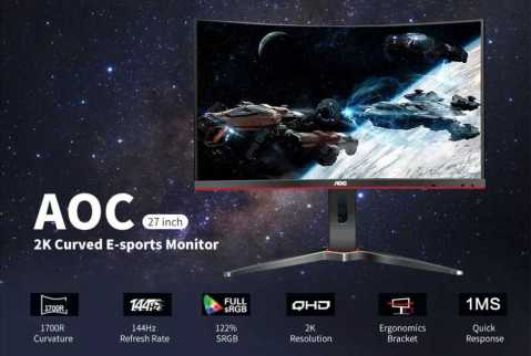 AOC CQ27G1 Monitor - AOC CQ27G1 Curved Monitor 27'' Banggood Coupon Promo Code [USA Warehouse]