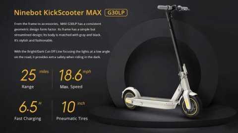 Ninebot MAX G30LP - Ninebot MAX G30LP Electric Scooter Banggood Coupon Promo Code