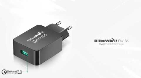 BlitzWolf BW S5 - BlitzWolf BW-S5 QC3.0 18W USB Charger Banggood Coupon Promo Code [Czech Warehouse]