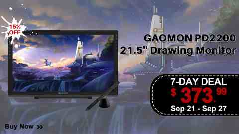 "PD2200 7 Day Deal 9.21 9.27 - GAOMON PD2200 21.5"" Graphics Drawing Tablet Amazon Coupon Promo Code"