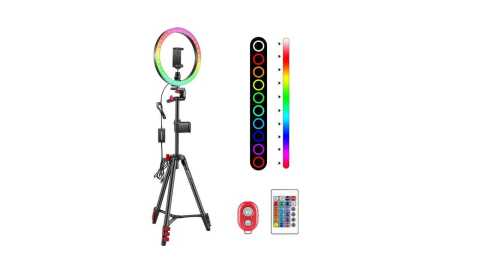 Neewer 10 inch RGB Ring Light Selfie Light - Neewer 10-inch RGB Ring Light Kit with Infrared Control Amazon Coupon Promo Code