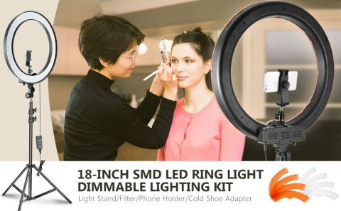 Neewer 18 inch Outer Dimmable SMD LED Ring Light Kit - Neewer 18-inch Outer Dimmable SMD LED Ring Light Kit Amazon Coupon Code [Stand/Filter/Phone Holder/Cold Shoe Adapter]