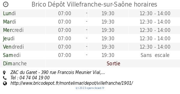 brico depot villefranche sur saone horaires zac du garet 390 rue francois meunier vial