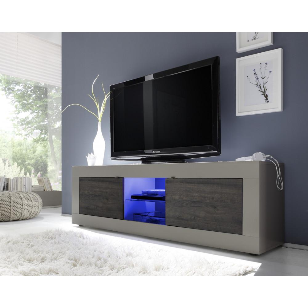 Meuble TV TORONTO Beige Et Weng 2 Portes 1 Niche