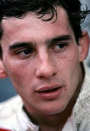 Ayrton after his first ever test in Formula One