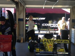 Ayla Agren gearing up in the garage