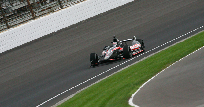 Dan Wheldon tests the DW-12 chassis at Indianapolis