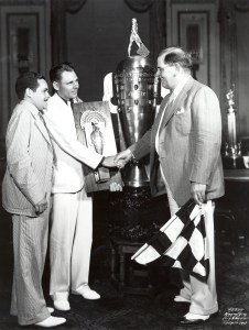 Louis Meyer is added to the Borg-Warner Trophy.