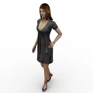 Girl Wearing Skirt 3D Model