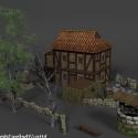 القرون الوسطى في نهاية المطاف البيت مع الفناء الخلفي