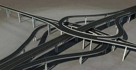 Multi-level Roads 3ds Max Model Free (3ds, Max, Obj