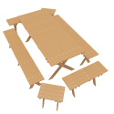 Wooden Outdoor Furniture Set 3d Models