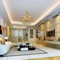 Golden Living Room Interior Scene