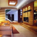 Wooden Living Room Interior Scene