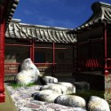 Chinese Cloister Courtyard Wall