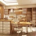 Wooden Kitchen Design Interior Scene