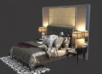 Intérieur de chambre à coucher moderne sombre modèle 3D ...