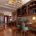Wooden Study Room Interior Scene