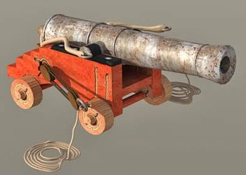 Antique Ship Cannon With Carriage