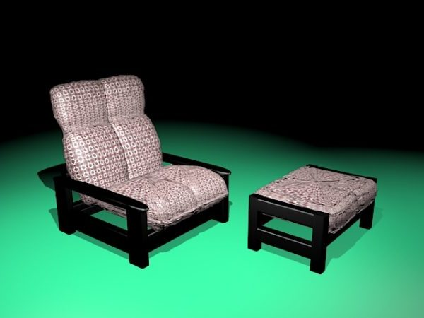 Vintage Recliner Chair With Ottoman